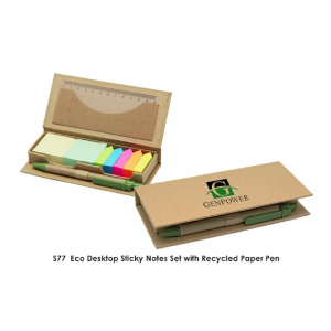 S Eco Desktop Sticky Notes Set with Recycled Paper Pen
