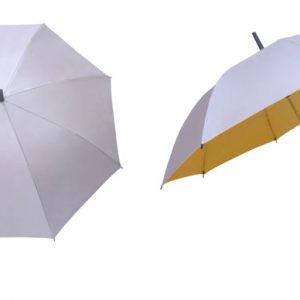 silver coated umbrella yellow